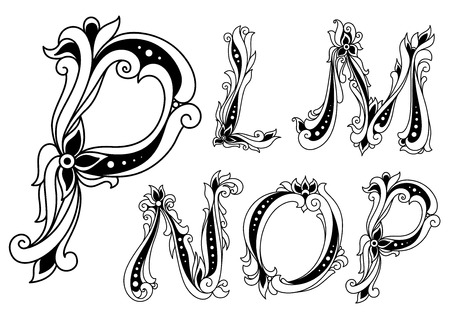 Floral alphabet with capital letters P, L, M, N and O decorated flowers and twirls in outline style for invitation, history or book design
