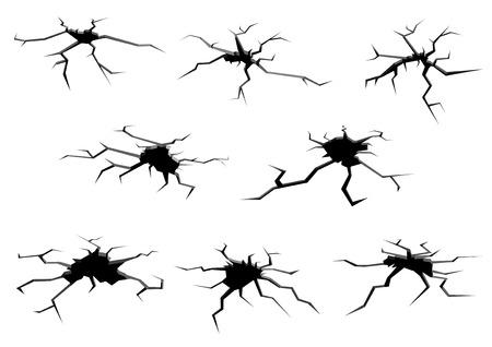 Cartoon black and white ground holes and cracks set for design