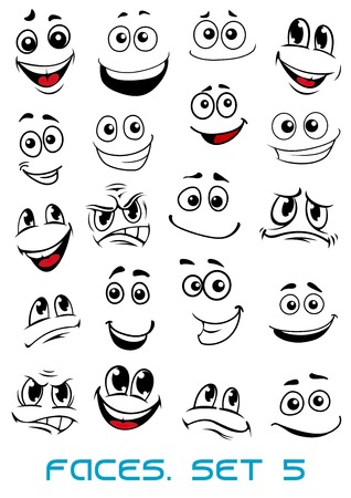 Illustration pour Cartoon faces with different expressions, mostly happy and smiling, featuring the eyes and mouth, design elements on white - image libre de droit
