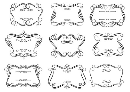 Decorative curlicue cartouches or frames in retro romantic style with curly borders isolated on white background suitable for vintage invitation or greeting card design