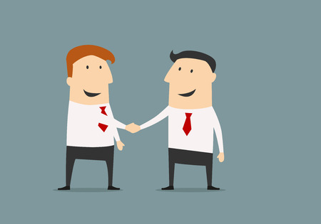 Illustration pour Cartoon businessman shaking hands congratulating each other with successful deal in flat style for business partnership concept design - image libre de droit