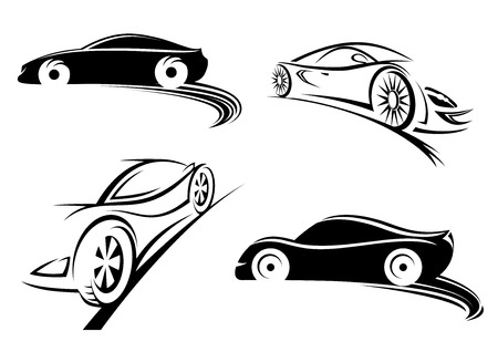 Black silhouettes of sports speed racing car in sketch style isolated on white background for racing design