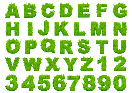 Grass alphabet depicting letters and numbers with spring green grass texture for education or ecology concept design