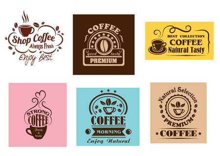 Creative coffee label graphic designs for cafe or restaurant menu design