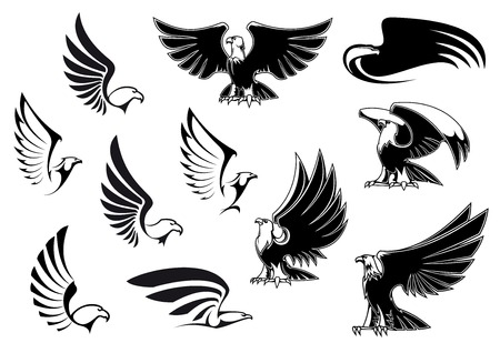 Eagle silhouettes showing flying and standing birds with outstretched wings in outline sketch style for logo, tattoo or heraldic design