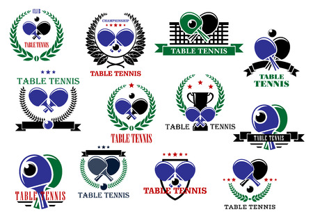 Table tennis sporting icons and labels set with rackets, balls and net