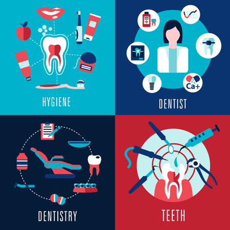 Medical flat concept with dentistry, dentist, teeth, hygiene infographics showing female doctor, tooth cross sections and dental chair with treatments icons
