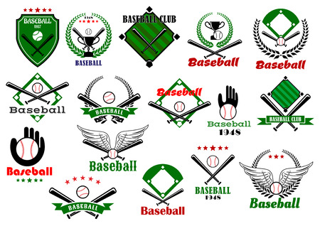 Baseball club or team emblems and logo with balls, bats, gloves, trophy cups framed by baseball fields, wings, stars and heraldic elements
