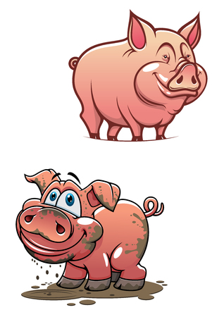 Illustration pour Pleased cartoon dirty piggy standing in a puddle and shining clean pink pig characters with smiling faces for agriculture or comics design - image libre de droit