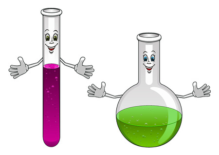 Happy glass test tube and flask cartoon characters showing laboratory glassware for chemistry or science design