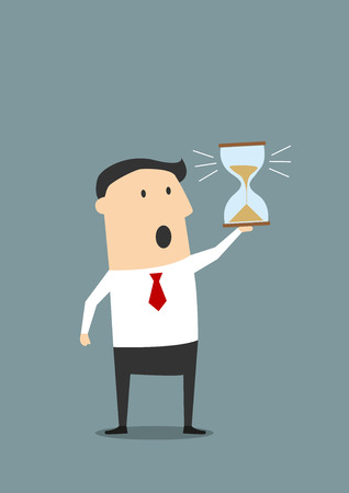 Cartoon businessman looking at hourglass at the end of countdown and worrying about deadline, for time management or deadline concept design. Flat style