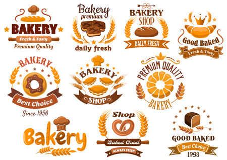 Bakery shop emblem designs depicting different kinds of fresh bakery products and pastry decorated wheat ears, stars, toque, crowns and ribbon banners with various headers