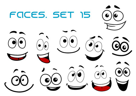 Illustration pour Laughing and toothy smiling funny faces with big googly eyes in cartoon comic style for humor caricature or avatar design - image libre de droit