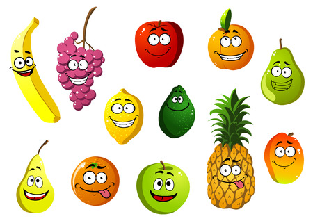 Colorful happy smiling cartoon fruits characters with banana, grape, apple, orange, pear, pineapple, lemon, avocado, apricot and mango