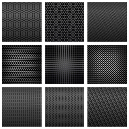 Dark gray carbon fiber seamless pattern backgrounds with various shapes, for backdrop or modern technology design