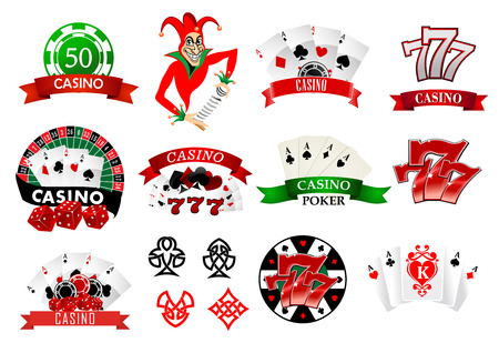 Large set of colored casino and poker icons or emblems with tokens, chips, playing cards, Joker and lucky numbers 777