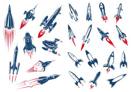 Ilustración de Outer space rocket ships and military missiles in cartoon style on white background - Imagen libre de derechos