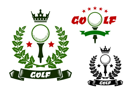 Golf ball on tee for sporting emblems or badges design