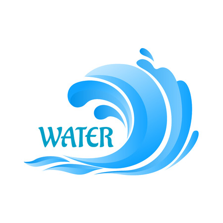Sea blue wave curl symbol with water splashes for ecology or vacation design