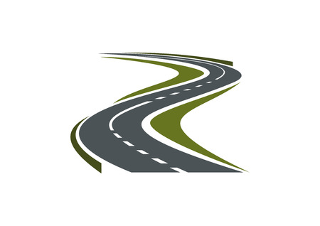 Illustration pour Modern paved road or highway symbol with hairpin curve disappearing into the distance for car trip or transportation design - image libre de droit