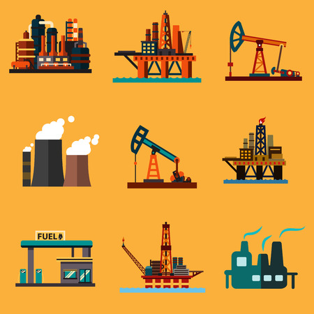 Petroleum industry icons in flat style with offshore oil platforms, oil pump jacks, oil refinery plants, thermal power plant and filling station