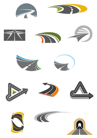 Colored road and freeway icons showing curving, winding, receding and convoluted tarred roads, isolated on white