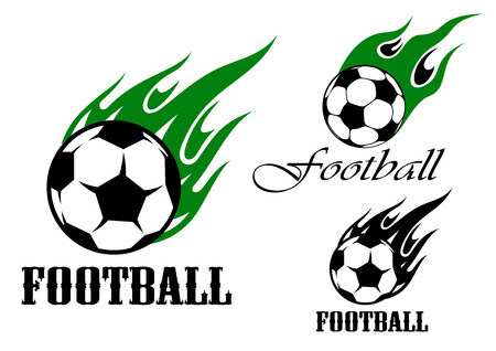 Flaming football or soccer ball emblem design with green and black flames in tribal style, for sports design
