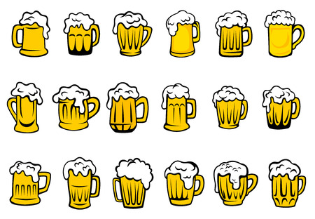 Illustration pour Glass or ceramic mugs and tankards filled of golden light beer with overflowing froth heads isolated on white background, for brewery emblem or beer party design - image libre de droit