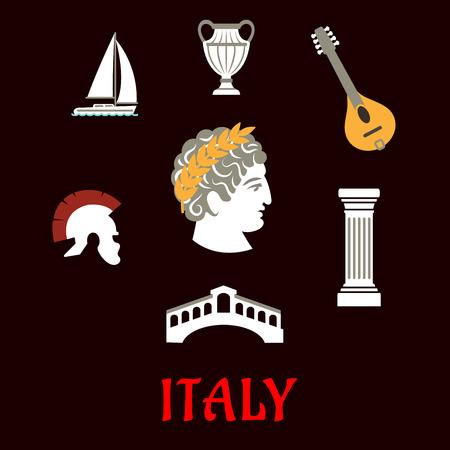 Italian culture and travel flat icons with Caesar in wreath, roman helmet, venice bridge, ancient vase, mandolin, doric column and sailboat