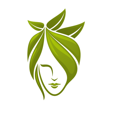 Woman face with hair composed from abstract green leaves for spa, organic cosmetics or beauty salon