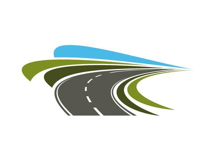 Ilustración de Steep turn of speed road icon with flowing lines of green road sides and blue sky, for transportation or trip design - Imagen libre de derechos