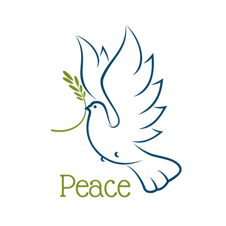 Illustration pour Flying dove or pigeon with olive branch and elegant curved wings isolated on white background. For peace or religion concept - image libre de droit