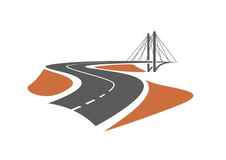 Foto de Road leading to the cable-stayed bridge, for transportation or emblem design - Imagen libre de derechos