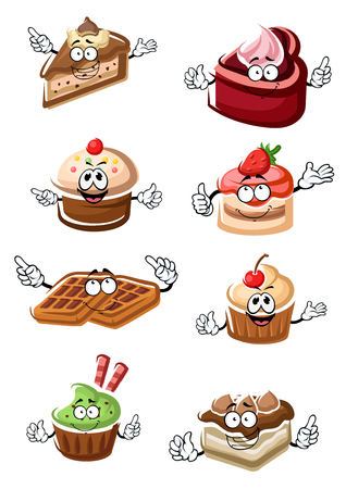 Cartoon delicious funny fruity desserts, chocolate cake slices, cupcakes and belgium waffles characters with fresh strawberry, cherry fruits and cream. For pastry shop theme