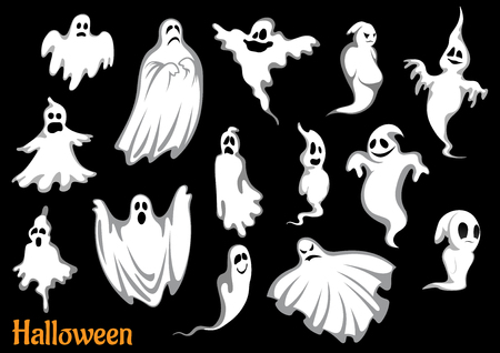 Eerie flying Halloween ghosts and monsters, isolated on black, for seasonal party design