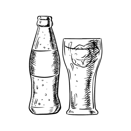 Glass bottle of soda with bubbles and filled glass with ice cubes isolated on white background. Sketch image