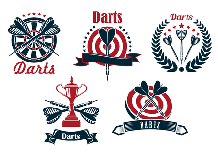 Darts game icons design with dartboard, arrows and trophy cup, adorned by stars, laurel wreaths and ribbon banners
