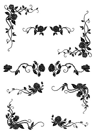 Illustration pour Vintage floral borders with blooming rose vines, adorned by lush flowers and dainty buds. Retro style dividers and corners - image libre de droit