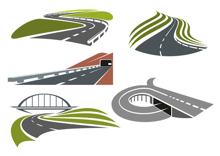 Ilustración de Winding roads among green fields, freeway with railroad bridge, highway interchange with ramp and mountainside road with tunnel, for transportation theme design - Imagen libre de derechos