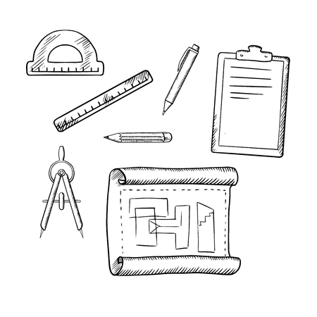 Illustration pour Architect drawing, compasses, pencil, pen, ruler, half circle protractor and clipboard sketch icons - image libre de droit