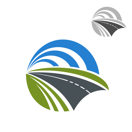 Ilustración de Speedy road icon with green roadsides disappearing to a vanishing point within a circle of blue sky, for travel or transportation themes design - Imagen libre de derechos