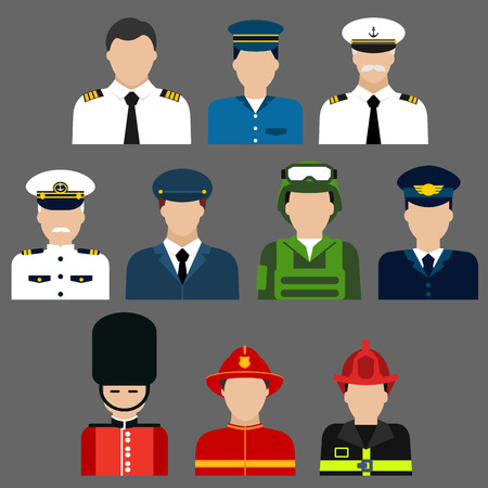 Flat icons of professions avatars of firefighter, soldier, pilot , security and ship captain with men in professional uniform and caps