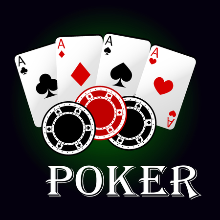 Poker game symbol with four aces of playing cards and gambling chips. Casino and gambling themes