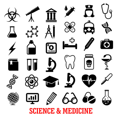 Science and medicine flat icons with ambulance, hospital, test tube, doctor, microscope, book, pills, dna, atom, flask, stethoscope, syringe, heart, cardiology, drugs, tooth, glass, globe and telescope