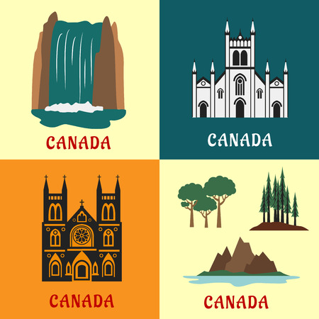 Architecture and nature landmarks of Canada with flat icons of scenic waterfall, evergreen forest, mountain and valley, gothic temple and church