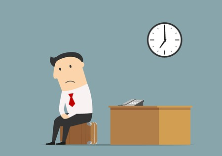 Illustration pour Unemployment, jobless or professional crisis theme concept. Frustrated dismissed manager sitting on briefcase at empty office after being fired - image libre de droit