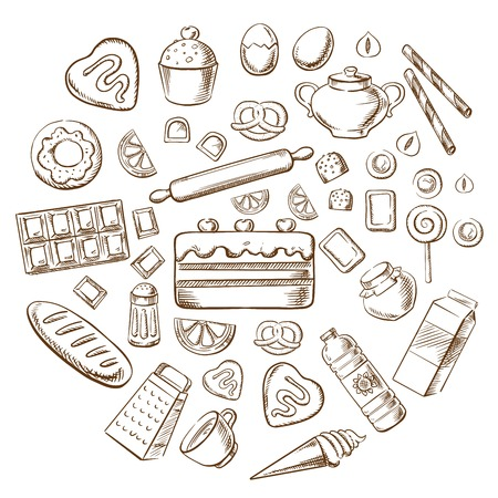 Pastry, dessert and bakery with various breads, cakes, baking ingredients and kitchen utensil. Sketched vector objects