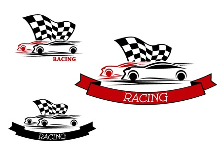 Illustration pour Racing sport emblems design with competition of red and black cars with fluttering checkered flag and ribbon banners - image libre de droit