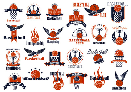Ilustración de Basketball game emblems in orange and blue colors for sporting design with balls, baskets, courts and trophies, decorated by stars, wings, flames, laurel wreaths and ribbon banners - Imagen libre de derechos