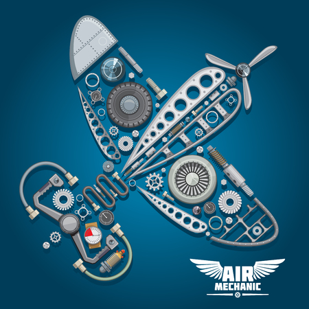 Illustration pour Air mechanic design with silhouette of retro propeller airplane, composed of wings body, reduction gear, propeller, pilot control wheel, pressure hoses, distributor valve, landing gear, colorful gauges, bolts and screws - image libre de droit